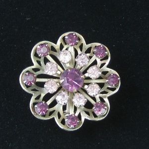 Vintage Brooch Silver with Purple and Pink Stones